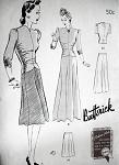 1940s 2 PC EVENING DRESS GOWN PATTERN BIAS CUT BUTTERICK 1358
