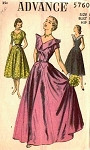 1940s LOVELY EVENING GOWN PATTERN ADVANCE 5760