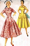 1950s Lovely Figure Flattering Dress Pattern SIMPLICITY 1000 Princess Line Full Skirt day or Party Dress Bust 32 Vintage Sewing Pattern