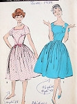 1950s Pretty Dress Pattern Fitted Bodice Full Skirt Advance 9078