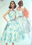 1950s FULL SKIRTED DRESS PATTERN BEAUTIFUL NECKLINE SIMPLICITY PATTERNS 2105