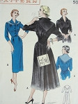 1950s  DETAILED TAILORED DRESS PATTERN SLIM FRONT, FULL BACK SKIRTED, WING COLLAR, PERKY STYLE BUTTERICK 5630
