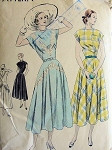 Late 40s Lovely Dress Pattern VOGUE 6450 Circular Bias  Skirt Dress 2 Style Versions Easy To Make Bust 30 Vintage Sewing Pattern