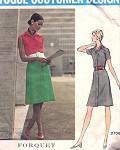 1960s FORQUET FRONT BUTTON DRESS PATTERN VOGUE COUTURIER DESIGN 2708