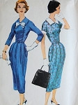 1950s SLIM DRESS PATTERN DETACHABLE COLLAR CUFFS McCALLS 4183