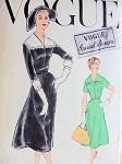 1950s DRESS PATTERN PRETTY STYLE, DETACHABLE COLLAR,CUFFS VOGUE SPECIAL DESIGN 4839