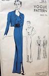 1930s ELEGANT EVENING DRESS, JACKET PATTERN BEAUTIFUL DETAILS, SWEETHEART NECKLINE VOGUE 7551