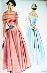 1940s OFF SHOULDERS EVENING GOWN PATTERN BEAUTIFUL STYLE McCALL 7605