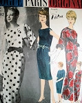 1960s CLASSY PATOU EVENING GOWN, JACKET PATTERN VOGUE PARIS ORIGINAL 1092