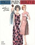60s Lanvin Evening Gown Cocktail Dress Pattern Vogue Paris Original 1048 Eye Catching Very Deep Low V Back Bust 38 Vintage Sewing Pattern