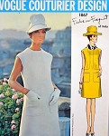 60s Mod Forquet Dress Pattern VOGUE COUTURIER DESIGN 1867 Slim Dress Bust 32 Vintage Sewing Pattern