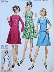 1970s SIMPLICITY 8889 DRESS PATTERN BASIC PRINCESS DRESS, 2 NECKLINE VERSIONS
