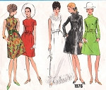 1960s MOD Dress Pattern VOGUE BASIC DESIGN 1976  Day or Evening Lengths Five Style Versions Bust 34 Vintage Sewing Pattern