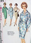 1960s SLIM DRESS PATTERN WING COLLAR, BELTED or LOOSE STYLE SIMPLICITY 5191