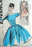 1960 LOVELY Full skirted Party or Day Dress Pattern ADVANCE 9441 Dress up or Down Very AUDREY HEPBURN Design  Bust 34 Vintage Sewing Pattern