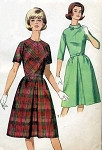 1960s  DRESS PATTERN 2 NECKLINES,  FRONT BACK INVERTED PLEAT PAN AM STYLE SIMPLICITY 5564