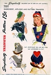 1940s  TRANSFER EMBROIDERY APPLIQUE  PATTERN SWEETHEART BIB, BELT BAG, HAT SIMPLICITY 7197