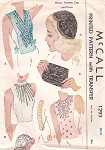 1940s BEADED CAP HAT, PURSE, VESTEE, HALTER TOP PATTERN FABULOUS DESIGNS FOR BEADING McCALL PATTERNS 1293