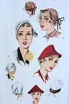 1950s McCalls 1652 Hats Pattern 3 Perky Styles Fab Cloche Version