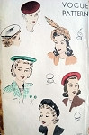 1940s HATS PATTERN  LOVELY BERET STYLES VOGUE 9475