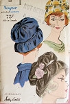 1960 SALLY VICTOR PRETTY HAT PATTERN Vogue 5109 GATHERED CROWN SCOOPED BRIM  Flirty Hats  Day or Evening Style Vintage Sewing Pattern