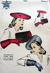 1940s  LARGE BERET HAT, GLOVES PATTERN ALSO CROCHET INSTRUCTIONS FOR GLOVES  HOLLYWOOD 1003 Vintage Sewing Pattern