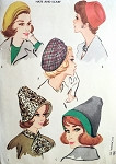 1960 Fashionable Hats and Scarf Pattern McCALLS 2416 Three  Styles Flirty Beret, Classy Pillbox, Reversible Hats and Scarf Original Vintage Sewing Pattern FACTORY FOLDED
