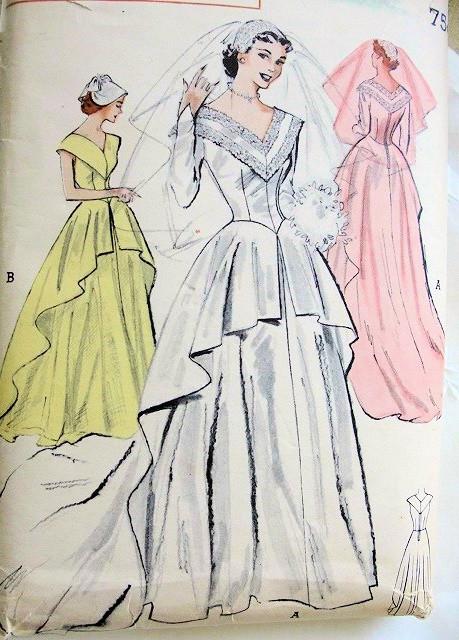 1950s Beautiful Traditional Wedding Gown Bridal Dress Pattern Flattering V Neckline Cascade Over Skirt Butterick 5714