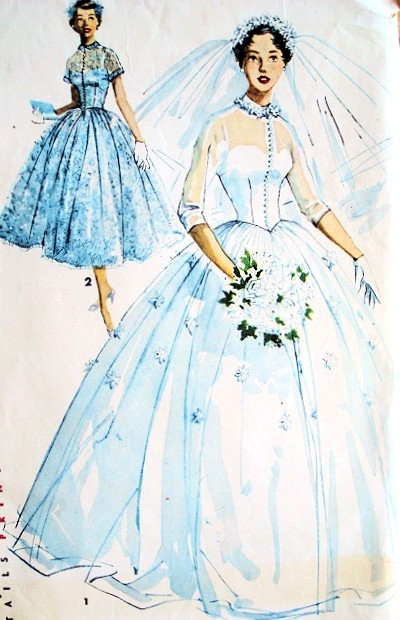 Princess Grace Wedding Dress.1950s Romantic Princess Grace Style Bridal Bridesmaid Dress Wedding Gown Pattern Fitted Bodice Full Beautiful Skirt Simplicity 4697 Vintage Sewing