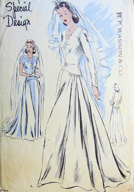1940s Beautiful Wedding Gown Bridal Dress Pattern Longer Torso Design Scalloped Neckline Long Fitted Sleeve Version Has Scalloped Extensions Very