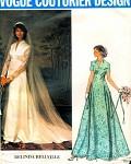 70s VOGUE COUTURIER PATTERN 1156 BEAUTIFUL  WEDDING GOWN BRIDAL DRESS VEIL, CAP  BELINDA BELLVILLE