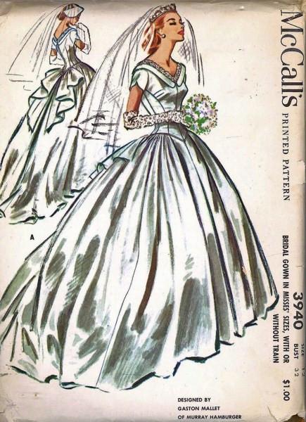 1950s Beautiful Wedding Gown Bridal Dress Pattern Mccalls 3940