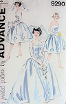 Early 60s Audrey Style Wedding Dress Pattern Advance 9290 Strapless Bridal Gown, Jacket, Bridesmaids Dress Vintage Sewing Pattern UNCUT FACTORY FOLDED