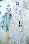1950s BEAUTIFUL WEDDING GOWN BRIDAL DRESS PATTERN, HEADDRESS, VEIL, MITTS SIMPLICITY PATTERNS 4084