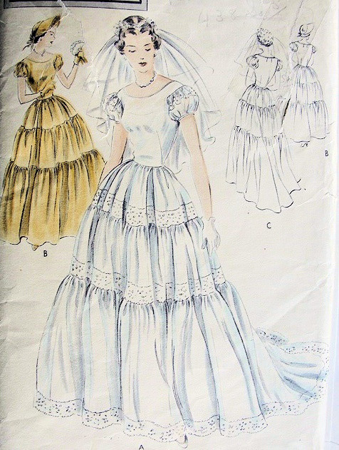 1940s Bridal Dress Wedding Gown Or Bridesmaid Dress Pattern Triple Tiered Skirt Puff Sleeves Bridesmaid Hat Vogue Special Design 4993 Vintage Sewing Pattern Bust 32 A Ladies Shop