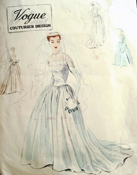 1950s Beautiful Classic Wedding Dress Bridal Gown Pattern Vogue Couturier Design 636