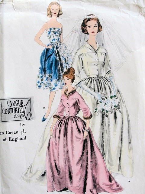 Vintage 1960 John Cavanagh Designer Bridal Gown Wedding Dress Pattern Vogue Couturier Design 204 Strapless Dress Full Skirt Unique Side Back Button