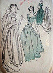 1940s DRAMATIC WEDDING GOWN BRIDAL DRESS PATTERN ADVANCE 4521