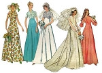 1970s EMPIRE BRIDAL GOWN WEDDING DRESS PATTERN DETACHABLE TRAIN