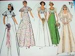 1970s EMPIRE STYLE WEDDING  BRIDAL DRESS PATTERN BEAUTIFUL STYLES