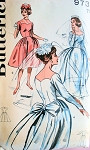 1960s Formal Evening and Bridal Dress Wedding Gown Pattern Striking Scalloped Sweetheart Neckline Lovely Styles Butterick 9736 Vintage Sewing Pattern Bust 32