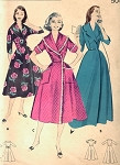 1950s FLATTERING FULL SKIRT BRUNCH ROBE LOUNGING  HOUSECOAT BUTTERICK PATTERN 8369 BUST 36