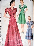 1930s HOUSECOAT ROBE PATTERN PRINCESS STYLE BEAUTIFUL FLARED DESIGN SIMPLICITY PATTERNS 3306