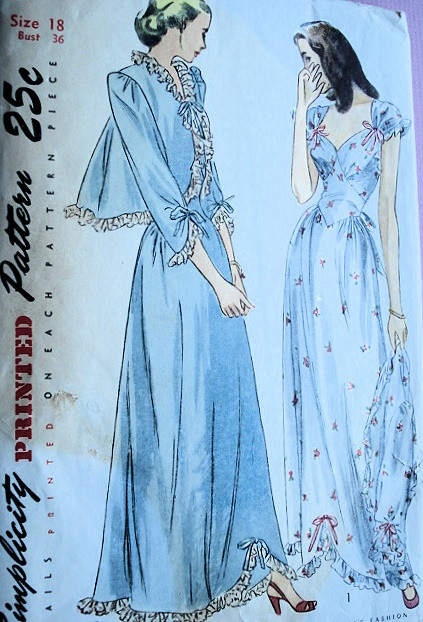 1940s Glamorous Nightgown and Bed Jacket Pattern SIMPLICITY 2222 ... 036e402c8