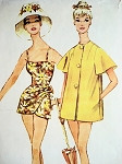 1960 SARONG STYLE BATHING SUIT, BEACH COAT COVER UP PATTERN McCALLS 5455