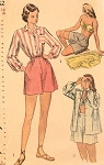 1940s Pinup Playsuit Beachwear Pattern Simplicity 2462 Vintage Sewing Pattern Bra and Shorts Shirt Beach Cover