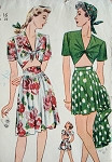 1940s SIMPLICITY PATTERN 1020 War Time WW II BEACH WEAR MIDRIFF TOP PLEATED SHORTS and SKIRT CUTE GINGER ROGERS Style Vintage Sewing Pattern