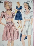 1940s BEACHWEAR PATTERN MID RIFF TOPS, SHORTS, SKIRT, SUN HAT SIMPLICITY 3392