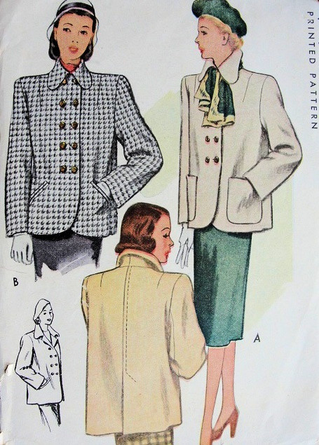 1940s Coat Jacket Pattern Mccall 6814 Vintage Sewing Pattern 2 Joan