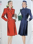 1940s SLIM DOUBLE BREASTED CLASSIC STYLE COAT PATTERN FRONT DART FITTED BACK IS CRUSHED IN WITH BELT SIMPLICITY 4801 Bust 36